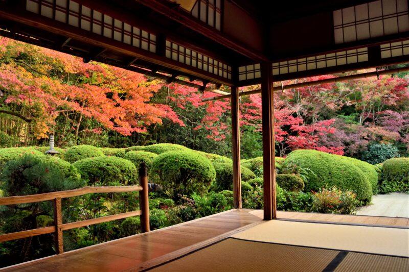 詩仙堂の詩仙の間から眺める庭園