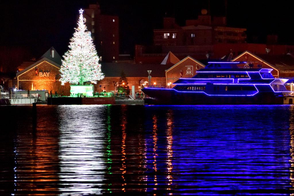 函館クリスマスファンタジーの海上のクリスマスツリー