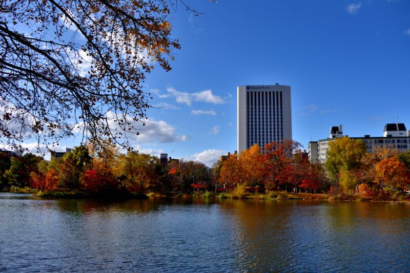 中島公園の菖蒲池と紅葉とホテル