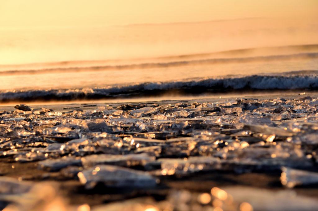 北海道の豊頃の大津海岸に打ち上げられたジュエリーアイス