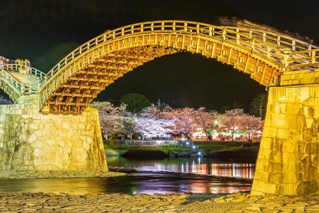錦帯橋のライトアップと桜