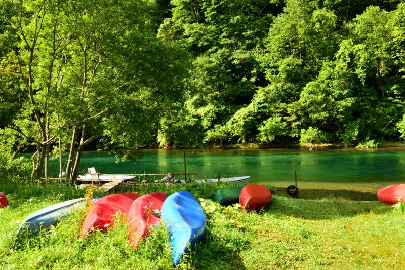 支笏湖のカヌー